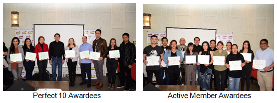Perfect 10 Awardees (left), Active Member Awardees (right)