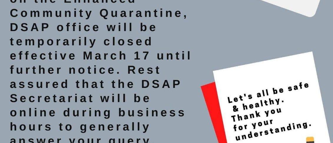 DSAP Announcement regarding ECQ